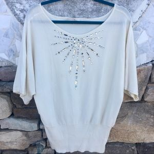 Boston Proper - Cream Colored Jeweled Blouse